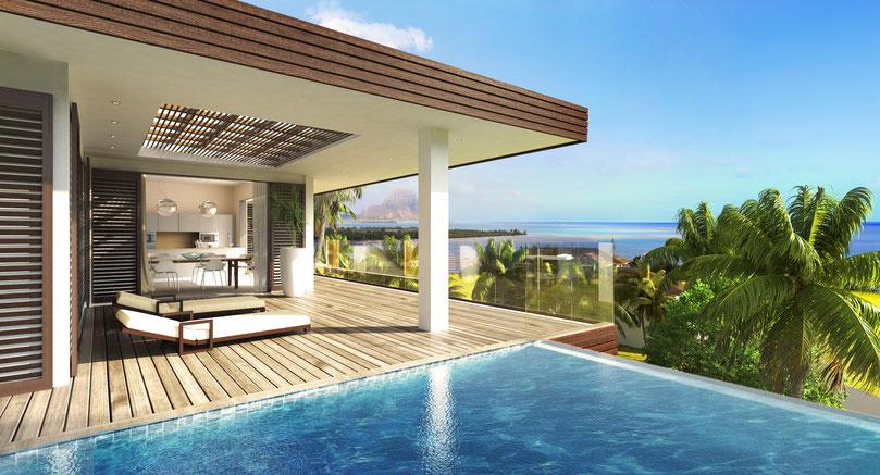 achat villa de luxe à l'île Maurice avec VUE MER à RIVIERE NOIRE