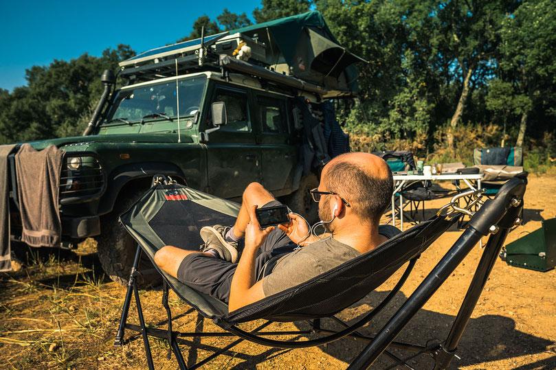 Tembo 4x4 hammock in use during wildcamping