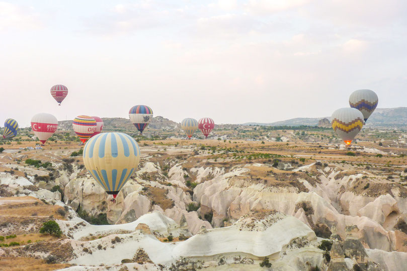 Hot air balloon flight in Cappadocia Turkey. An unforgettable must do holiday activity.