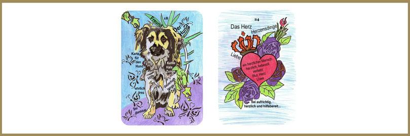 Hund und Herzkarte Lenormand