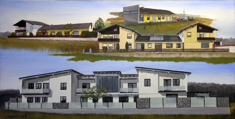 Die Evolution eines Hauses von 1970 bis 2015 (100x80cm)