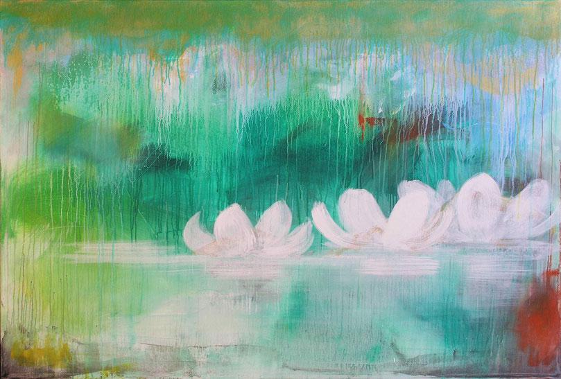"Wandgestaltung ""Seerosen im Teich"" (150x100cm)"
