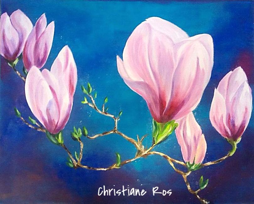gemaltes Bild Blüte Magnolie © Christiane Ros