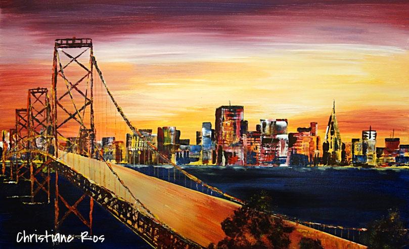 "gemaltes Bild San Francisco hinter ""Golden Gate Bridge"" © Christiane Ros"