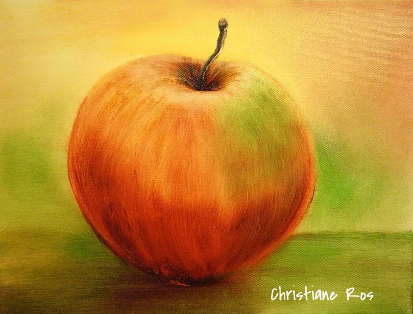 gemalter Apfel - Öltechnik - © Christiane Ros