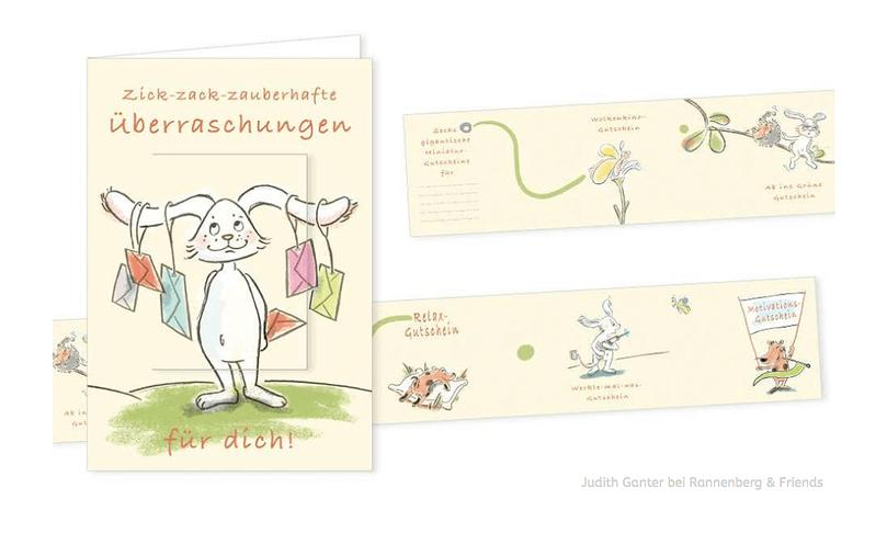 ZICK-ZACK-ZAUBERHAFTE ÜBERRASCHUNGEN FÜR DICH! - Text & Illustration Judith Ganter, Hamburg Verlag Rannenberg & Friends - Geburtstagskarte, Minigutscheine, Gutscheine