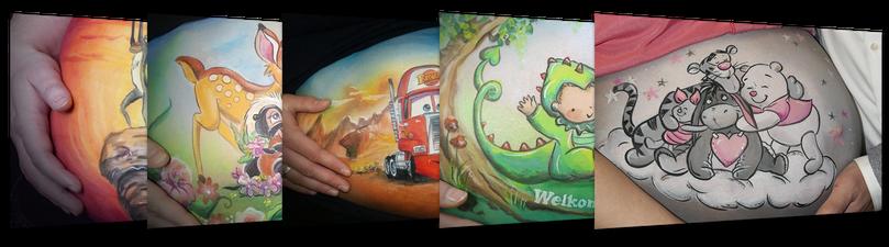 Bekijk het bellypaint inspiratie album voor mooie buikschildering ideeën