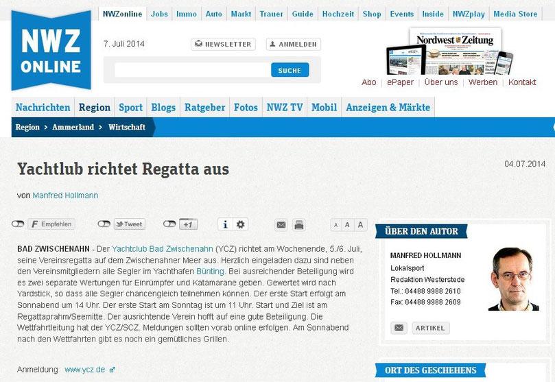Quellle: Nordwest-Zeitung/Ammerland Sport 04.07.2014