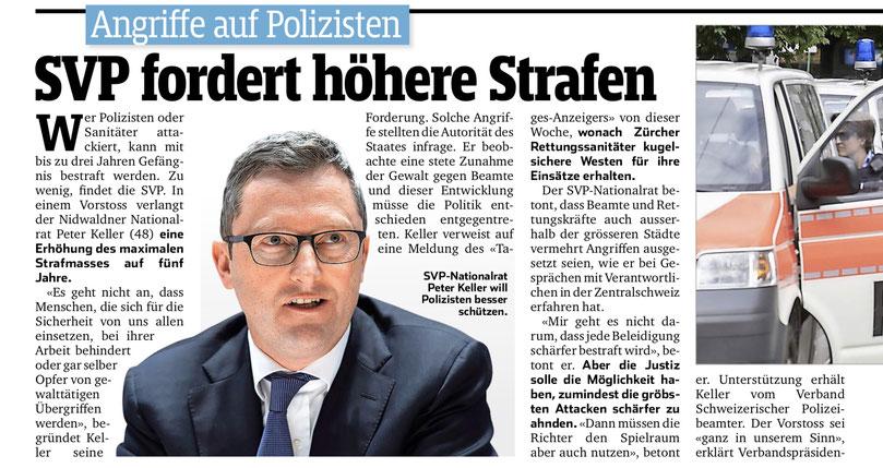 Bericht im Sonntagsblick vom 22. September 2019: Nicht nur Polizisten, auch Sanitäter und Feuerwehrleute müssen besser geschützt werden