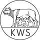 Logo der Kurt-Wolff-Stiftung - Interessenvertretung unabhängiger deutscher Verlage: Wölfin säugt Romulus und Remus