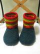 pantoffeln aus filz antonio mittelgrau mit bunter lasche und spitze in weinrot und senfgelb