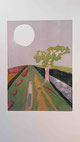 Druckgrafik, Holzschnitt, Farbholzschnitt, Probedruck, Japanpapier, Natur, Fluss, Baum, Mond, Silber, grün, Wasser, blau, Worpswede, Kunst, abstrakt modern,  Künstlerkolonie