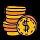 Icon Münzen mit Dollar-Zeichen