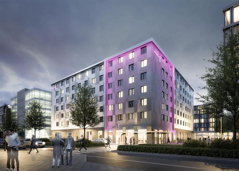 MOXY Hotel Berlin- Projektdaten: Grundstücksgröße ca. 2.726 m² Grundrissfläche ca. 10.115 m² (EG bis 6. OG) Geschosse 7 sowie 1 Tiefgarage Zimmeranzahl 357 Zimmer Baubeginn Januar 2016 Fertigstellung voraussichtlich April 2017