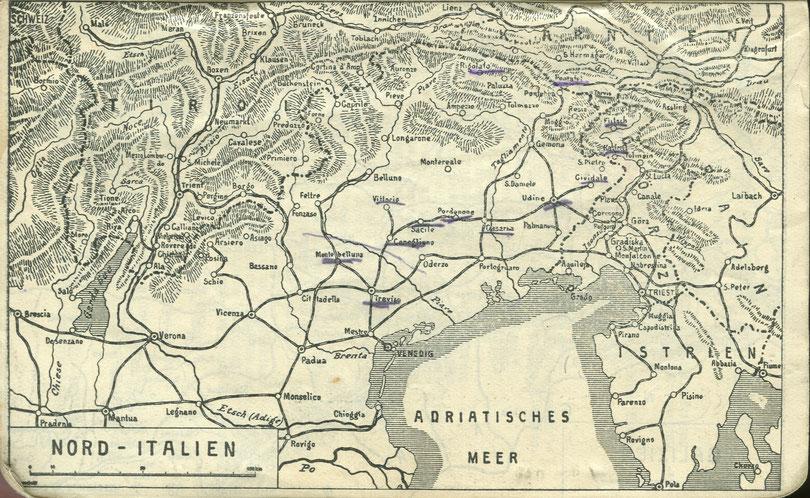 Der Kriegskalender enthält eine Karte auf welcher der Schreiber seine Stationen während des Italienfeldzuges markierte.