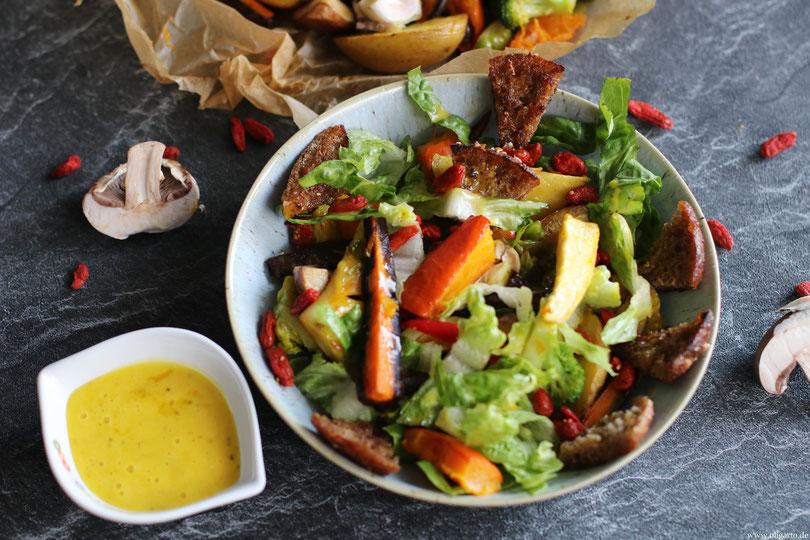 Wintersalat mit Backofengemüse und Goji-Beeren Oligarto Rezepte