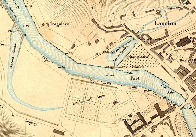 Détail du plan de Lannion de l'Atlas des ports de France de 1877, le quai submersible en pente de l'anse de Viarmes est qualifié de Dépôt d'engrais marins (Coll Perso.)