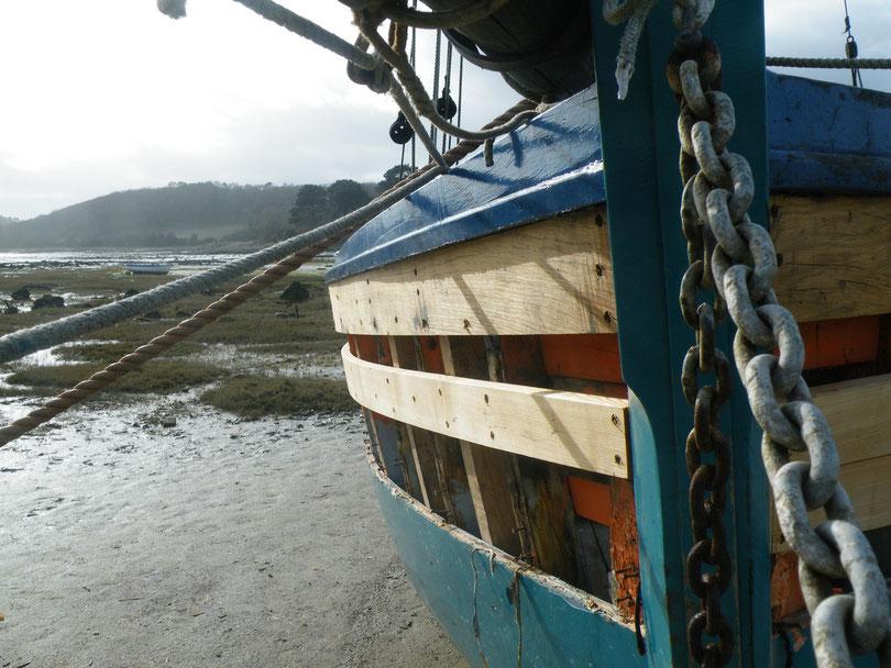 Certain font des travaux important comme Pascal Jeuset son propriétaire et le charpentier naval Klas Stelleman pour le changement des bordés des haut de son sloup la Marie Georgette (ancien sloup de passage de l'île de Batz) à Beg Vilin Plougrescant