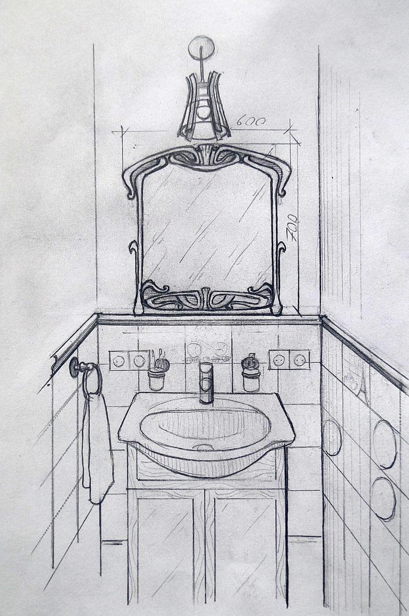 зеркало, модерн, ковка, художественная ковка, рисунок, скетч, проект