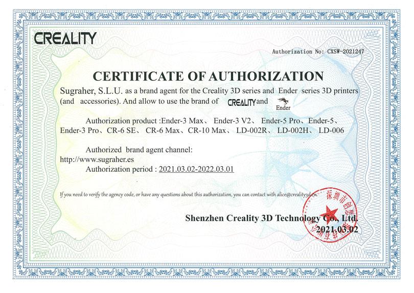 Autorización Sugraher Distribuidor Oficial Creality
