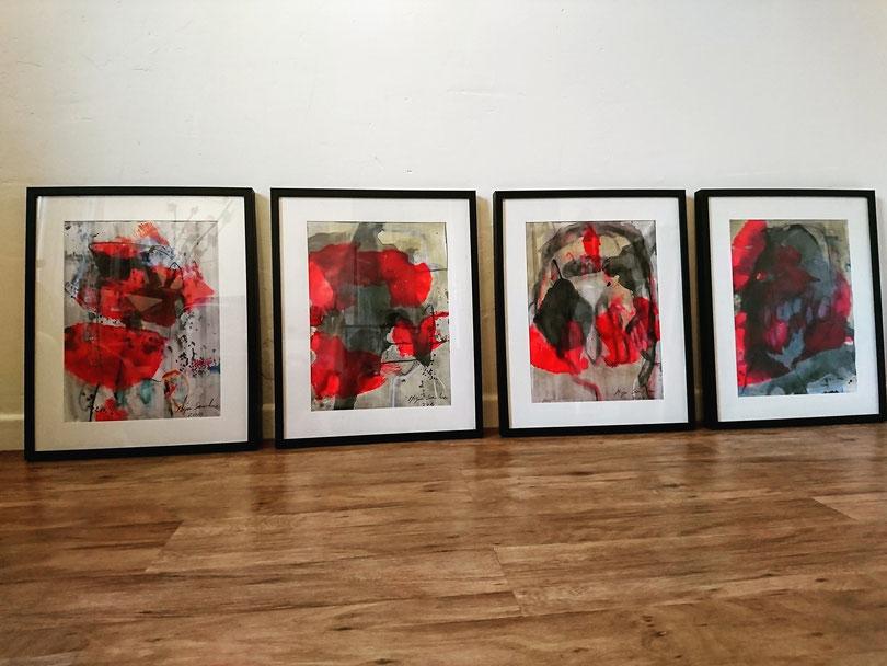 Chaque pièce sous verre et cadre peinture sur papier format  42/52.