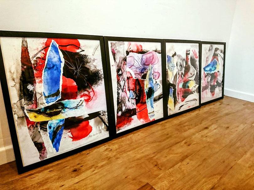 Chaque pièce sous verre et cadre peinture sur papier format 42/52