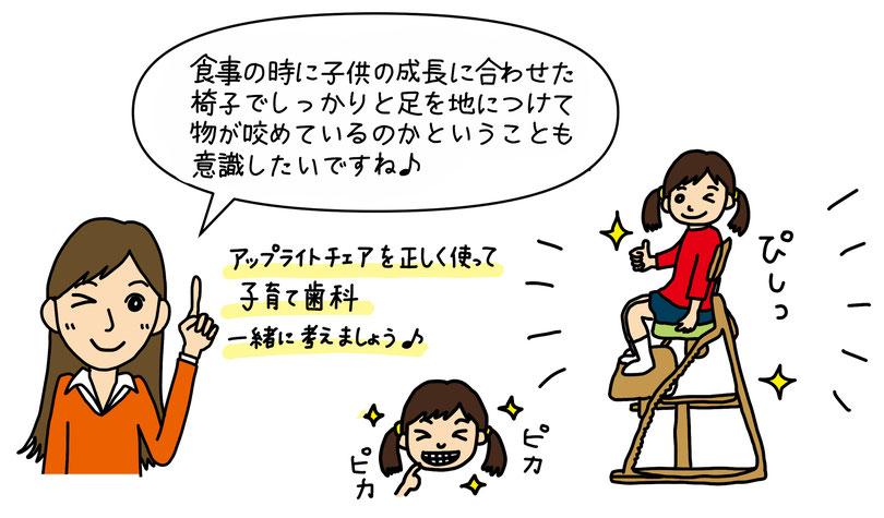 食事の時に子供の成長に合わせた椅子でしっかりと足を地につけて、物が咬めているのかということも意識したいですね。