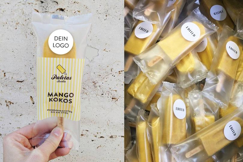 Eisstiele, Steckerleis, Popsicles als Merchandise, Markenbotschafter. Dein individuelles Logo auf der Verpackung