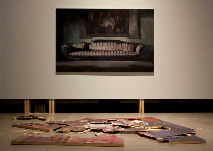 "Nacho Martín Silva.""Nothing will be like before"". Painting/ Installation. Oil on canvas/oil on wood. 200 x 250 x 270. Installation view at Matadero Madrid. 2012."