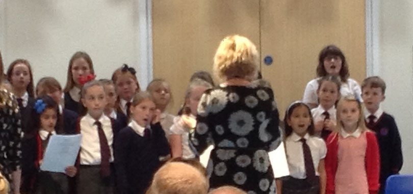 The Discovery School Choir performing at the collaboration music concert with Mereworth Community Primary School.