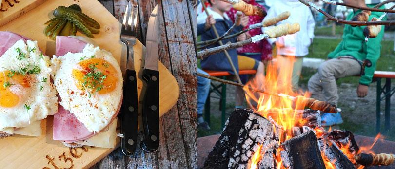 Lagerfeuer am Restaurant der Kaiser Alm im Kaiser Camping in Bad Feilnbach