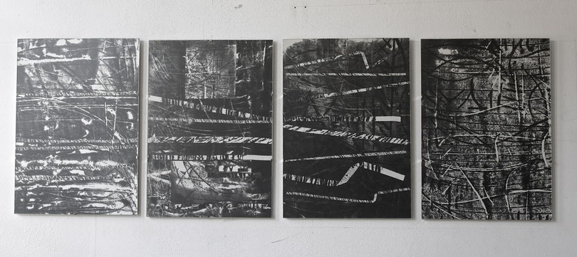 small composition in four movements  2011  monotypes  ink  rice paper  32 x 45 cm /p