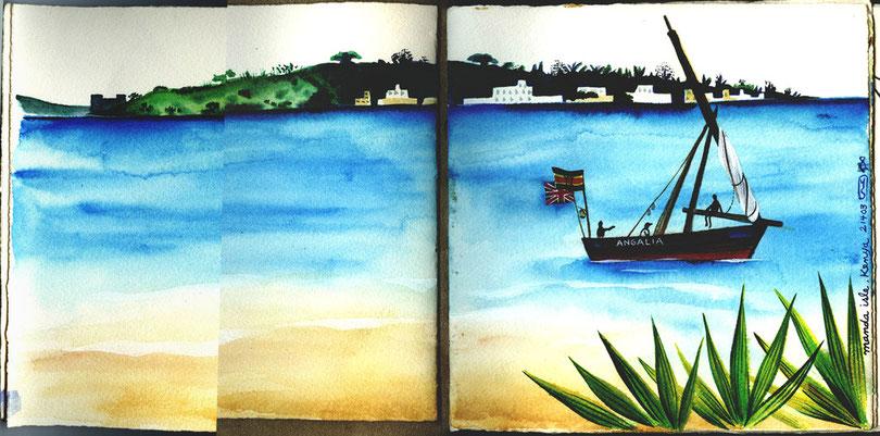 """""""ケニア マンダ島のスケッチより 〜 sketch from Manda Isle in Kanya""""  2003"""