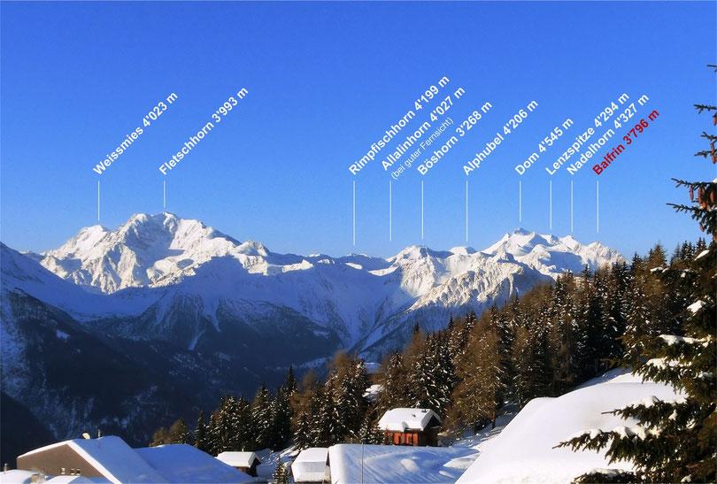 Bild Balfrin vor Dom Mischabelgruppe Matterhorn
