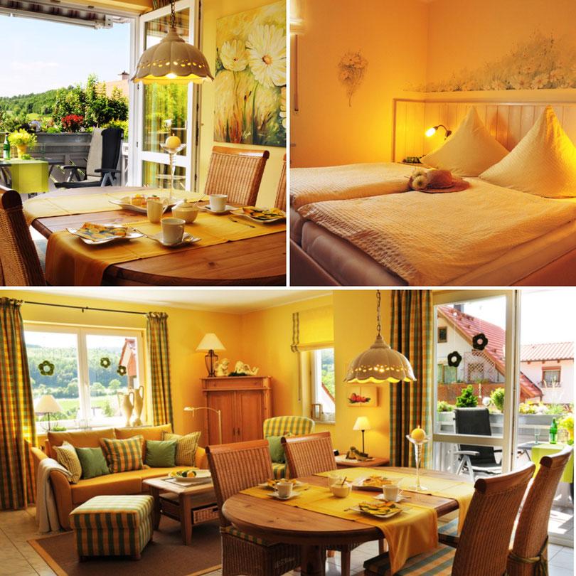 Ferienwohnungen Bad Staffelstein mit Aussicht, idyllische Lage, gedeckter Tisch, Blick nach Bad Staffelstein, Landhaus-Gemütlichkeit mit gedecktem Kaffeetisch