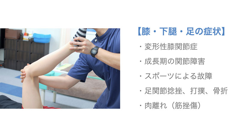 【膝・下腿・足の症状】   ・変形性膝関節症   ・成長期の関節障害   ・スポーツによる故障   ・足関節捻挫、打撲、骨折   ・肉離れ(筋挫傷)