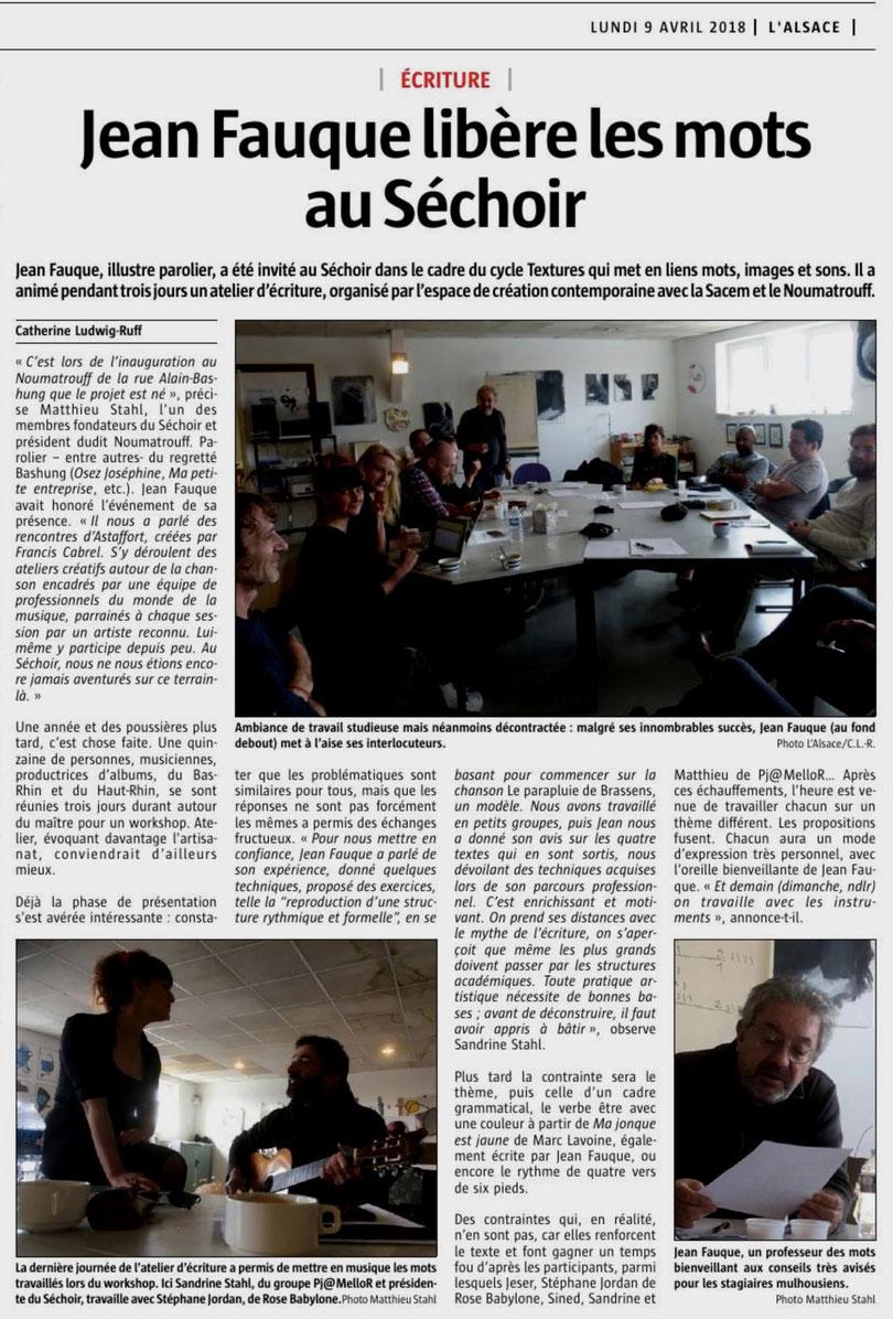 Ecriture avec Jean Fauque - L'Alsace 9/04/18