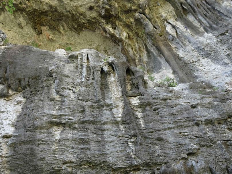 man sieht im Freien der Schlucht Stalagtiten und Stalagmiten, hier ist auch eine Kletterwand