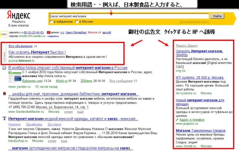 Yandex検索エンジンサイト