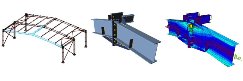 Beispiel eines importieren Anschlusses (Bauteile, Platten, Schrauben, Schweißnähte) aus Advance Steel