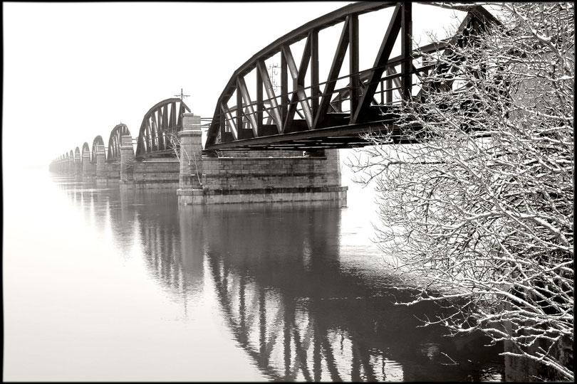 Dömitzer Brücke im Nebel