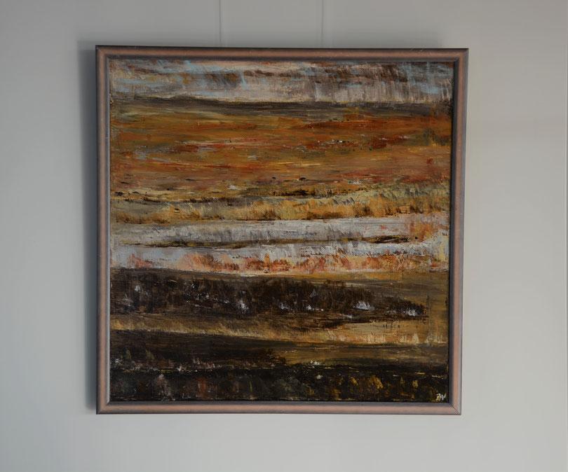 Titel: Landschap, 65 x 65 cm, Acryl op linnen. Hoogglans vernis. Januari 2020. Prijs€ 900,-.