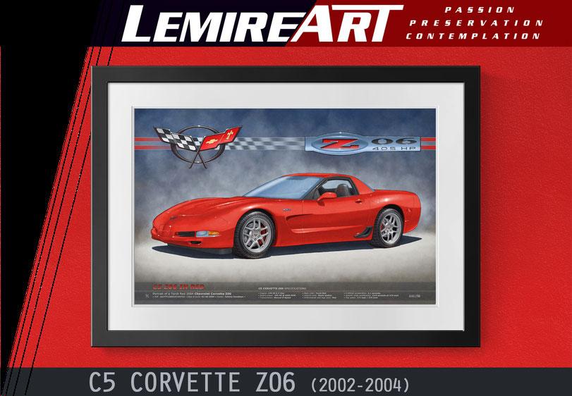Drawn portrait of a Corvette Grand Sport C6 in Victory Red