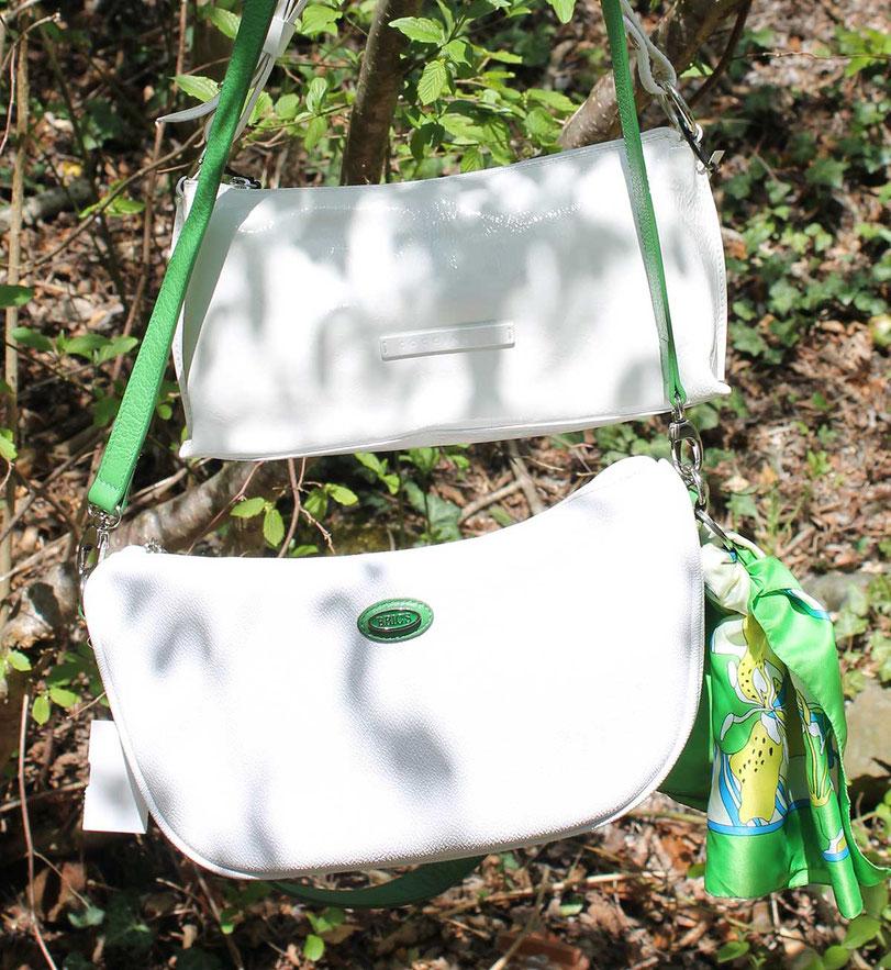 Second-Hand: traumhafte Handtaschen in edlem Weiß-Grün