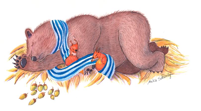 Bär und Eichhörnchen kuscheln sich aneinander, Entwurf für eine Bilderbuchgeschichte, Illustration Anka Schwelgin