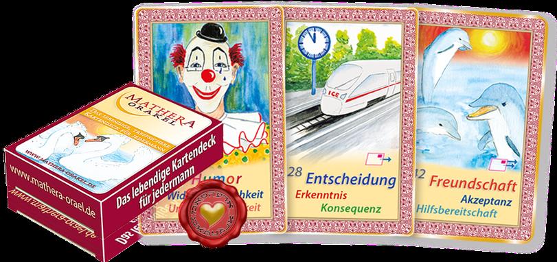 Orakelkarten und Verpackung Kartendeck von Mathera