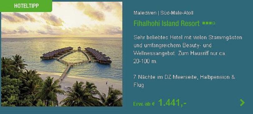Malediven last minute Badeurlaub Malediven Insel Fihalhohi Island Resort Nord-Male Atoll und weitere Maledivenreisen 2020 Neckermann Urlaubsknüller Jahn-Reisen  1.441,-€
