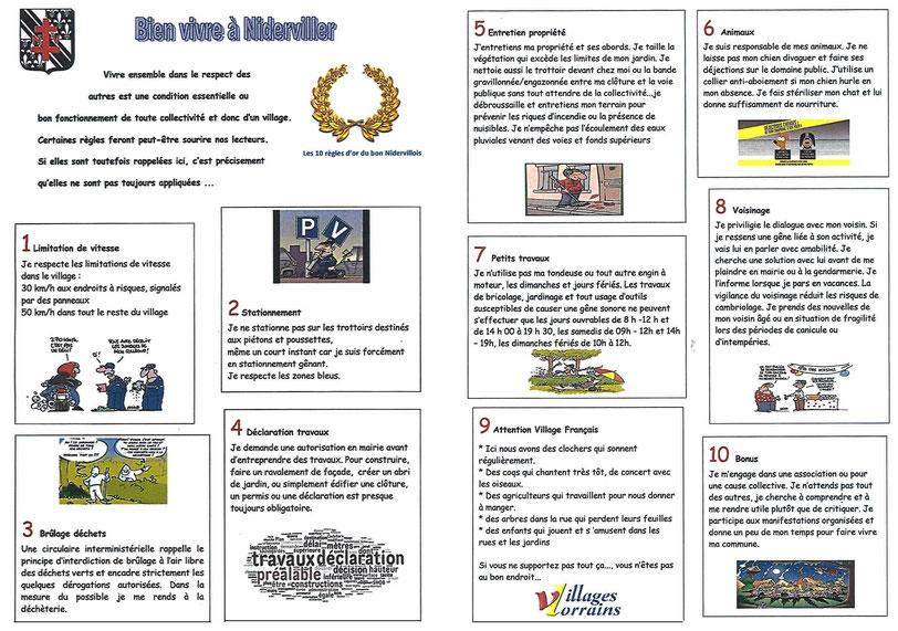 Les règles de bonnes conduites à Niderviller