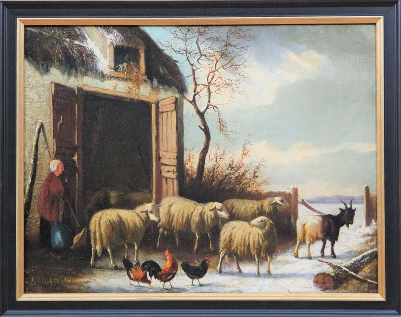 te_koop_aangeboden_een_schilderij_met_schapen_van_de_nederlandse_kunstschilder_laurens_plas_1828-1888_hollandse_romantiek