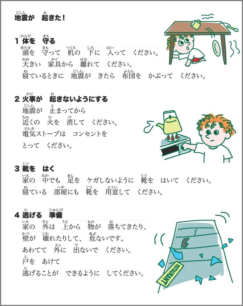 地震直後の対応 やさしい日本語